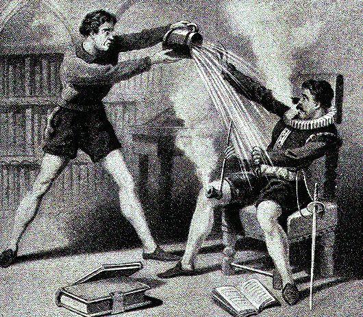Από τις πιο δημοφιλείς απεικονίσεις χαρακτικών του 17ου-19ου αι.  Ο Κύριος απολαμβάνει το αναμμένο του τσιμπούκι,  ενώ ο υπηρέτης του έντρομος τον καταβρέχει νομίζοντας  ότι έπιασε φωτιά και καίγεται