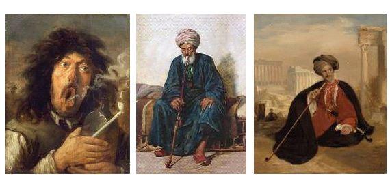 1. Δυτικοευρωπαίος καπνιστής 19ος αι. 2. Οθωμανός καπνιστής 19ος αι. 3. Έλληνας καπνιστής 19ος αι.