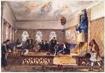 Καπνίζοντες σε κονάκι Μονής του Αγίου Όρους Έγχρωμη λιθογραφία 19ος αι.