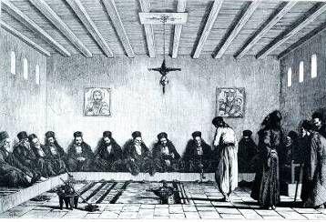 Καπνίζοντες σε κονάκι Μονής του Αγίου Όρους Χαρακτικό, 19ος αι.