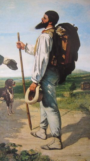 La Rencontre by Gustave Courbet (detail)