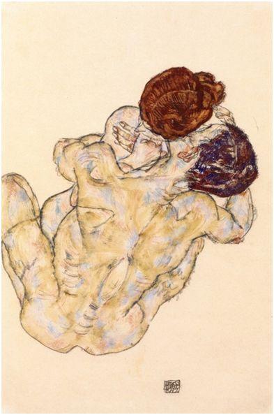 """Egon Schiele, Άνδρας και Γυναίκα (""""Mann und Frau"""") 1917"""