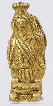 Χρυσό περίαπτο της θεάς Τύχης με κέρας Αμαλθείας. Αθήνα, Μουσείο Μπενάκη, αρ. ευρ. 2110. 3ος αι.